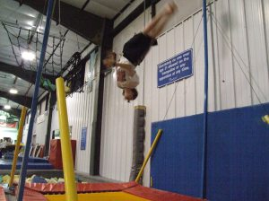 Steven Queoff trains on the trampoline
